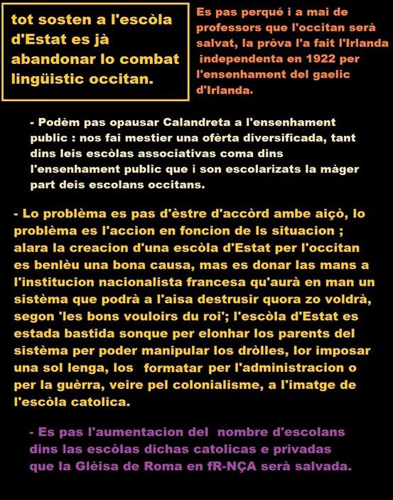 arguments per l'ensenhament en Calandreta