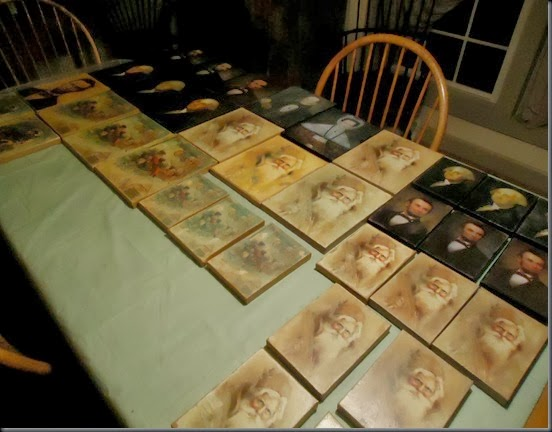 prints on table