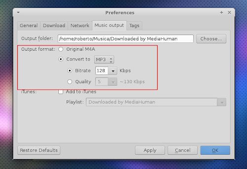 YouTube to MP3 Converter - preferenze