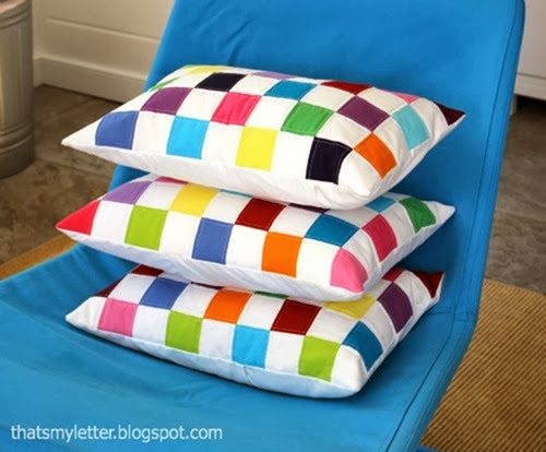Quilted colorblock pillow in vivid colors featured on DETAILS.