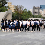 school kids at hiroshima peace memorial in Hiroshima, Hirosima (Hiroshima), Japan
