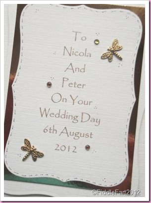 Cream and Gold Wedding Card with gems and dragonflies