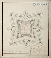 Plaen van d 'Ommer Schanse A: het Capteins en Majoors Logement B: de Baracquen C: de Corps de Quarde D: het Arsenaal E: de Turfschuur ### Bron: OudOmmen - ontvangen van Streekmuseum Ommen
