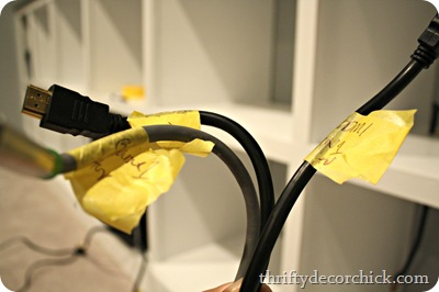 label cords with painters tape
