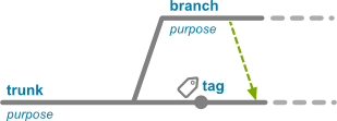 Branch diagram with tag and merge arrow