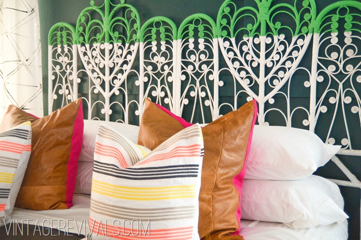 Color Blocked Vintage Wicker Headboard-24