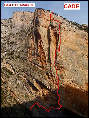 Mont-Rebei - Pared de Aragon - CADE 550m 6c (V  A0 Oblig) Itinerario
