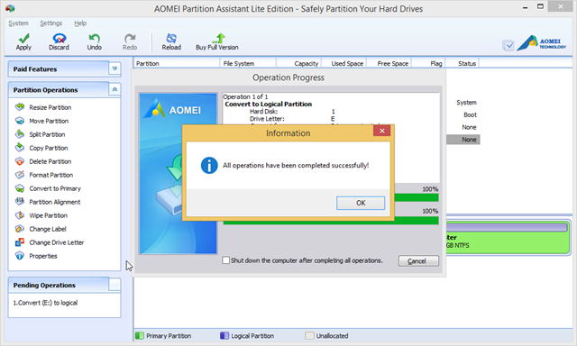 how to change primary partition windows 7