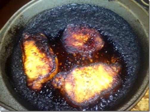 burnt pork chops