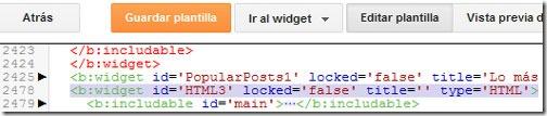 Ejemplo de un widget del código de Blogger.