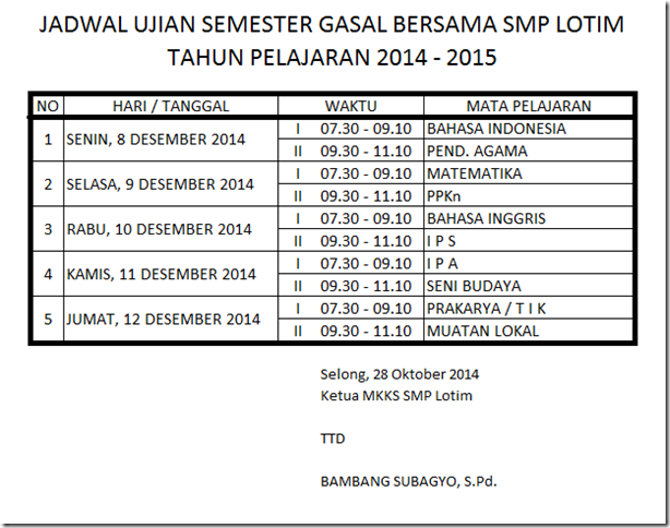 Jadwal USB Ganjil 2014-2015 SMP Lombok Timur
