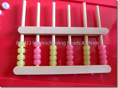 step 9 for making your own abacus @Homeschooling Hearts & Minds