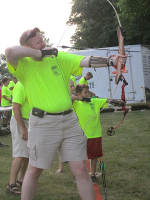 KCII's News Director trying his hand at archery.  Photo courtesy:  Joel Van Zante with the Washington County Bows and Bullets 4-H Club.