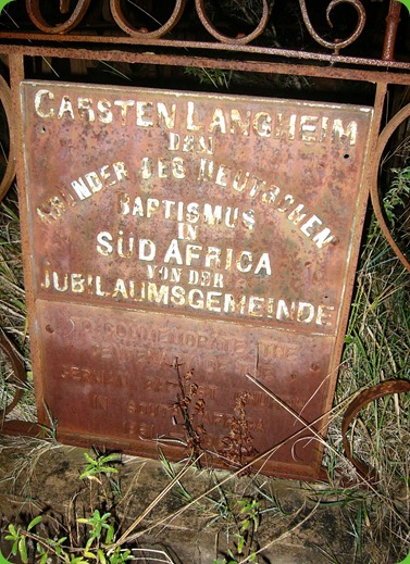 Carsten Langhein, Grave Plaque, Frankfort Eastern Cape 1