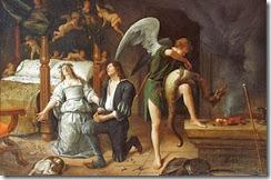 Jan_Steen_-_Tobias_en_Sarah_bidden_terwijl_Rafael_bindt_de_demon