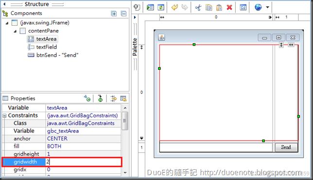 WindowBuilder gridwidth
