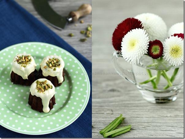 babaeczki czekoladowe z białaą czekoladą i pistacjami i stokrotki