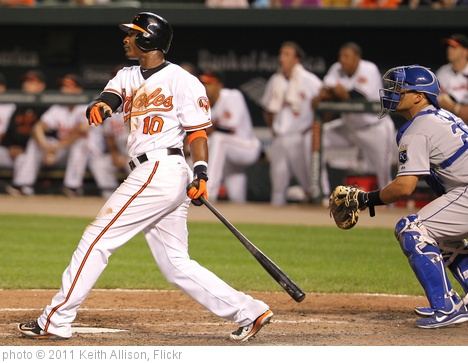 'Baltimore Orioles center fielder Adam Jones (10)' photo (c) 2011, Keith Allison - license: http://creativecommons.org/licenses/by-sa/2.0/