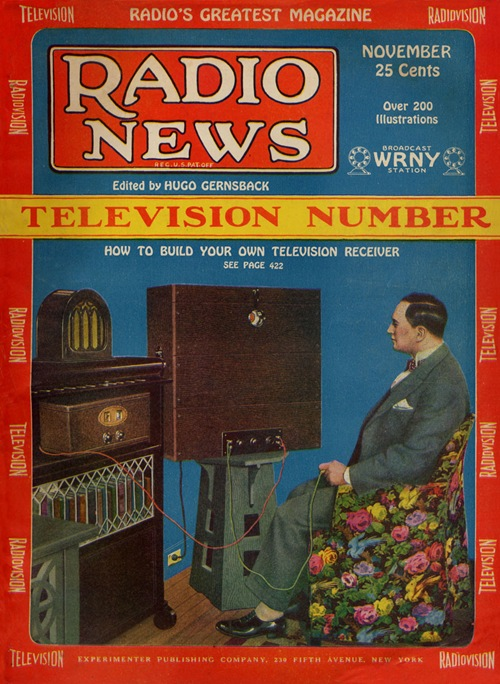 Hugo Gernsback viewing a WRNY television program