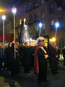 Are we back in Italy? Good Friday procession in Carroll Gardens featured a band, loudspeakers with Italian songs and bible verses, Mary on a platform and Jesus' body in a casket.