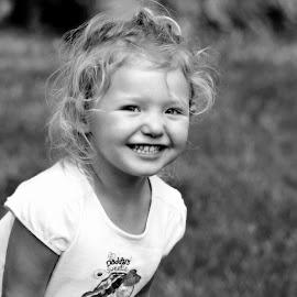 by Pam Satterfield Manning - Babies & Children Children Candids ( happines, children candid, black and white, children, curly hair, classic black and white, child, happy child, little girls, girl, happy, babies & children, smile, smiling,  )