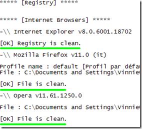 AdwCleaner file spazzatura eliminati resoconto della pulizia