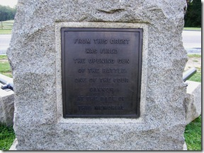 Plaque on the General John Buford statue marking the location of the start of the battle.