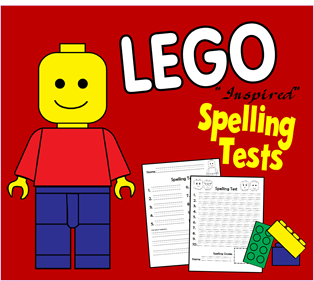 Free Black and White LEGO Spelling Tests for K6 Homeschoolers