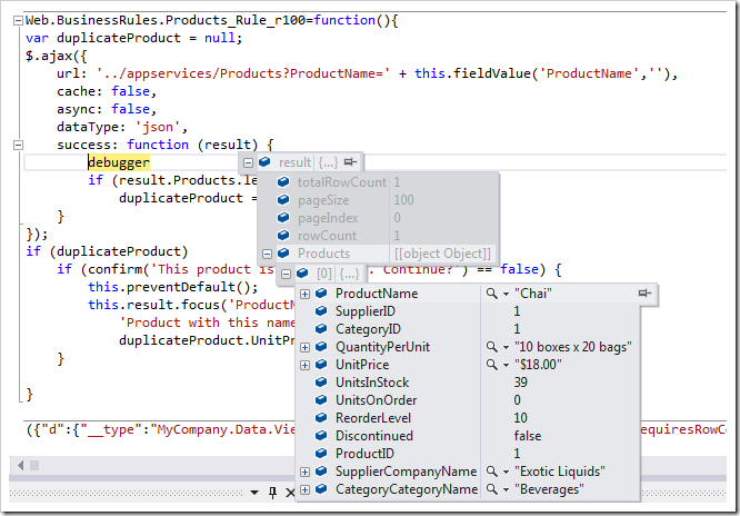 JSON response to a request for a product in Debug mode as presented by Visual Studio 2012