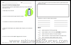 Free planning sheet to guide students through the process of designing an insulation device.