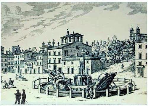 barcaccia piazza di Spagna e Trinità dei Monti senza scalinata (GB Falda modif. blu)