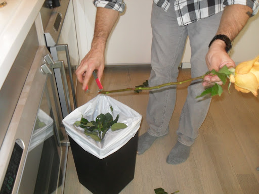 Leaving a few of the rose leaves is okay. It is best to keep them up top by the rose so the leaves do not go below the water level.