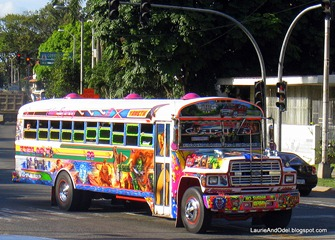 "A typical ""red devil"" bus on the streets of Panama City."