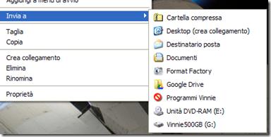 Google Drive aggiunto al menu Invia a del menu contestuale del tasto destro del mouse