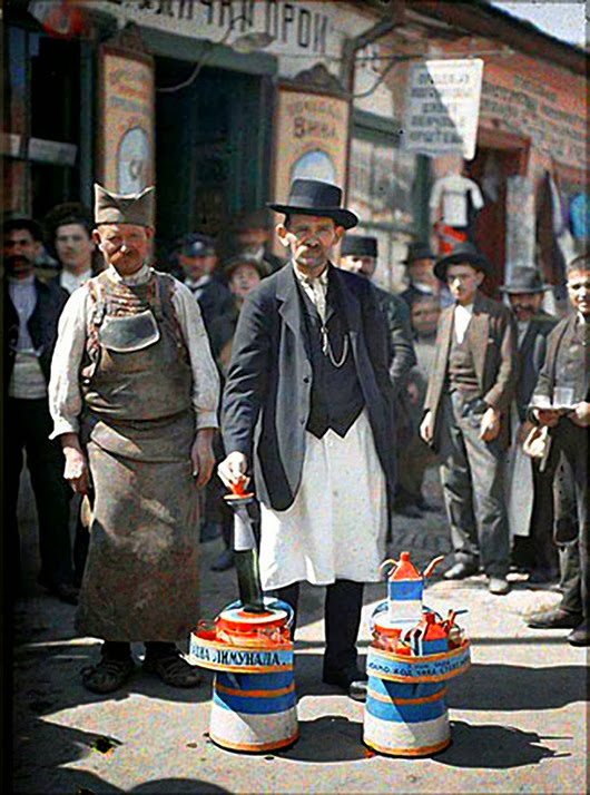 Picture Shows: A lemonade vendor, Belgrade, Yugoslavia, 1st May 1913.<br />TX: BBC Four, TBC<br />In 1907, the Lumière Brothers unveiled their latest invention to the public. It was called the autochrome - the world's first practical system for taking true colour photographs.  Flabbergasted by this amazing technological development, French financier Albert Kahn resolved to undertake what would become one of the most ambitious projects in the history of photography.<br />Warning: Use of this copyright image is subject to Terms of Use of BBC Digital Picture Service.  In particular, this image may only be used during the publicity period for the purpose of publicising PHOTOGRAPHING THE WORLD and provided Musée Albert Kahn is credited. Any use of this image on the internet or for any other purpose whatsoever, including advertising or other commercial uses, requires the prior written approval of Musée Albert Kahn.