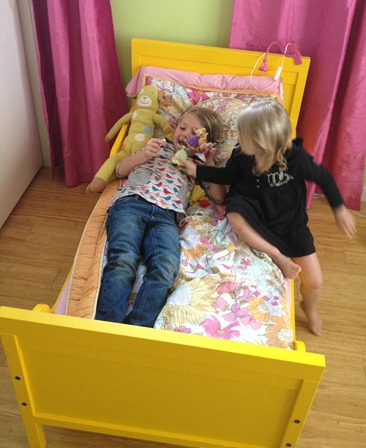 IKEA HACK yellow toddler bed