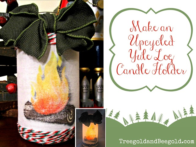 Upcycled Yule Log Candle Holder Tutorial