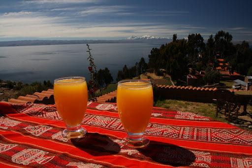 At the top, we rewarded ourselves with some fresh OJ with a view.