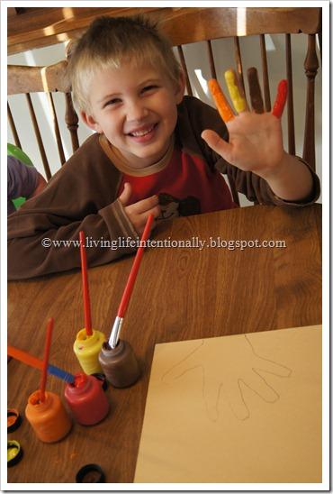 Thankful Turkey Hand Art Thanksgiving Craft for Kids
