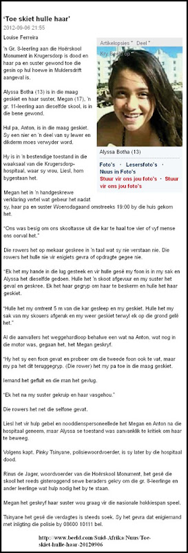 Botha Alysa Krugersdorp HighSchool PUppil murdered Muldersdrift smallholding Sept52012 BEELD