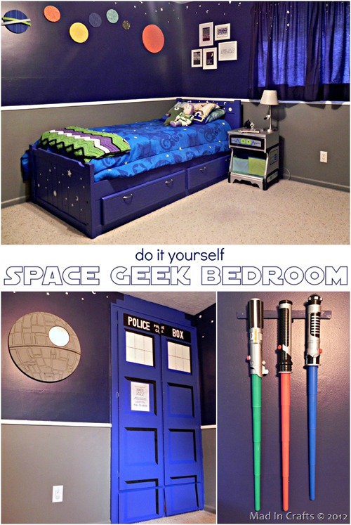 A super space geek bedroom mad in crafts for Geek bedroom ideas