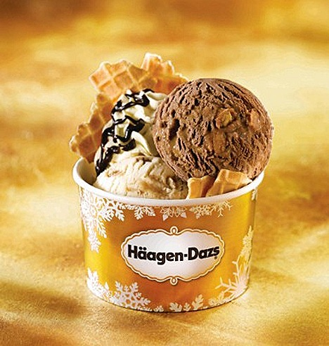 HAAGEN-DAZS JOYOUS CRUNCH  Rich Belgian Chocolate ice cream and decadent Crème Brulee ice cream crunchy waffle bits cone.