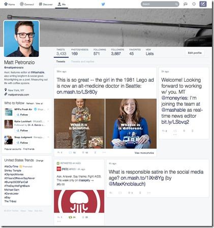 (c) Mashable. Twitterin testikäytössä oleva profiilisivu.
