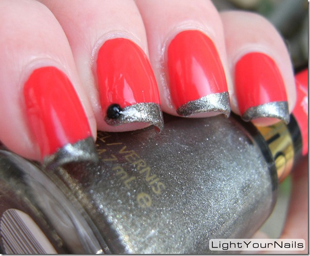 Royal Beauty Geranio + Revlon Carbonite french diagonal tips