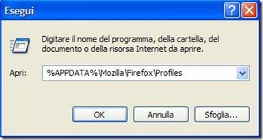 Start Esegui accedere alla cartella Profili di Firefox