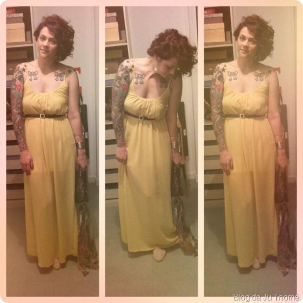 look vestido longo amarelo