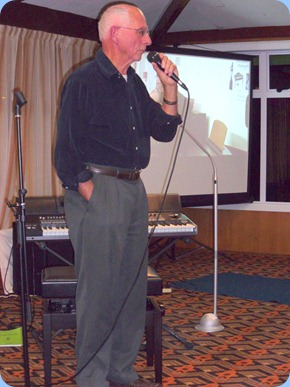 Our evening's guest artist, John Perkin, addressing the audience prior to his superb performance on his newly acquired and state-of-the-art Korg Pa3X keyboard