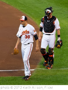 'Chris Tillman, Matt Wieters' photo (c) 2012, Keith Allison - license: http://creativecommons.org/licenses/by-sa/2.0/