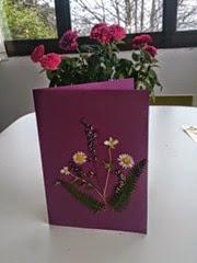 Tarjeta con flores secas