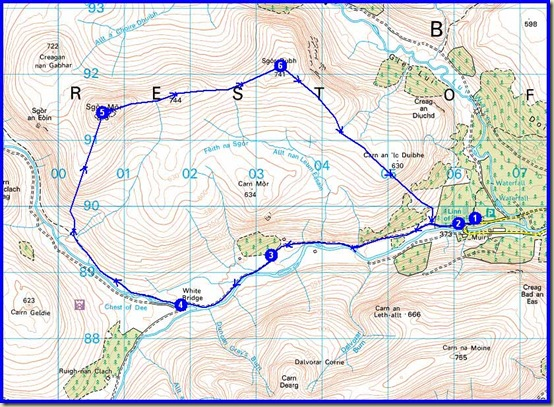 Thursday's route - 17km, 500m ascent, 4.25 hours
